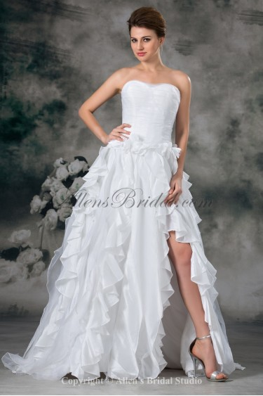 Taffeta Sweetheart Neckline Sweep Train A-line Wedding Dress