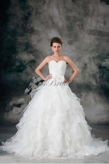 Organza Sweetheart Neckline Sweep Train Ball Gown Flower Wedding Dress