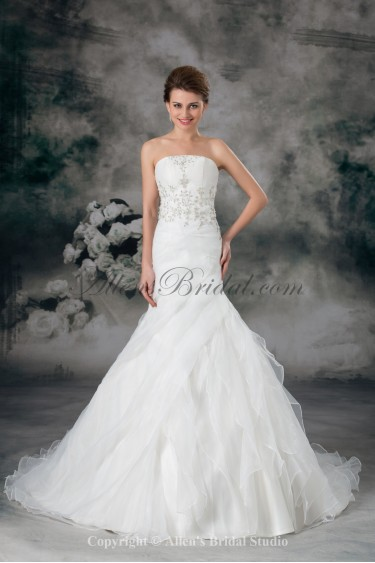 Organza Strapless Sweep Train Mermaid Embroidered Wedding Dress
