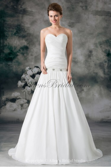 Satin Sweetheart Sweep Train Ball Gown Ruched Wedding Dress