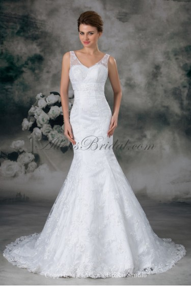 Lace V-Neck Sweep Train Mermaid Wedding Dress