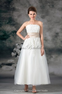 Net Strapless Neckline Ankle-Length A-line Embroidered Wedding Dress