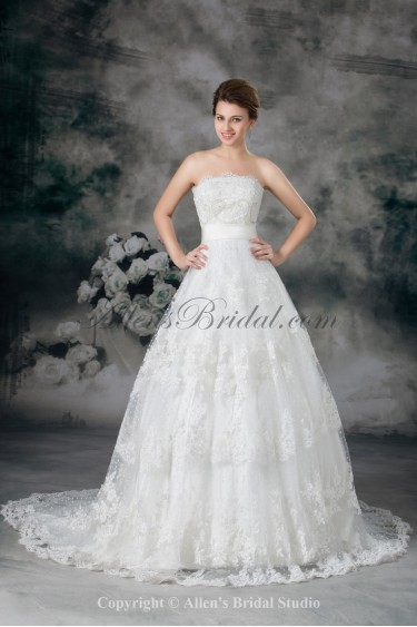 Lace Strapless Sweep Train Ball Gown Embroidered Wedding Dress