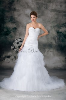 Satin and Net Sweetheart Neckline Sweep Train Sheath Embroidered Wedding Dress