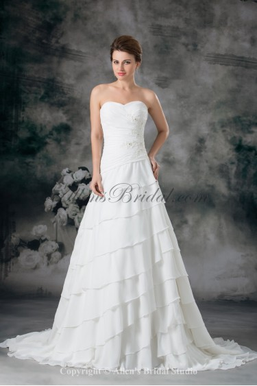 Chiffon Sweetheart Neckline Sweep Train A-line Embroidered Wedding Dress