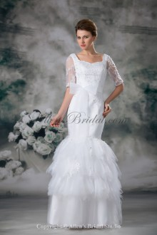 Net and Lace Square Neckline Floor Length Mermaid Half-Sleeves Wedding Dress
