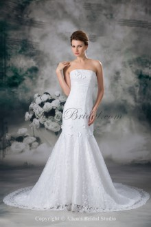 Lace Strapless Neckline Sweep Train Sheath Embroidered Wedding Dress