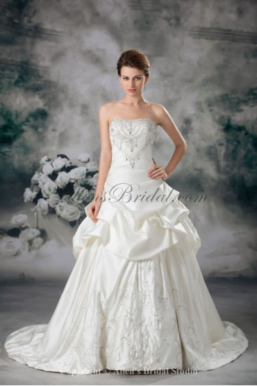 Satin Strapless Neckline Sweep Train Ball Gown Embroidered Wedding Dress