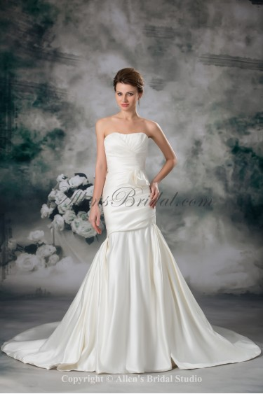 Satin Sweetheart Chapel Train Mermaid Ruffle Wedding Dress