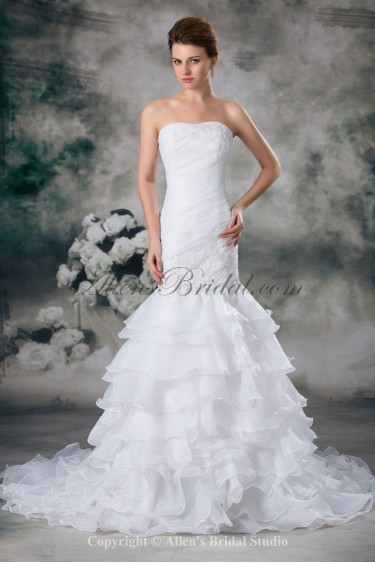 Organza Strapless Neckline Sweep Train Mermaid Embroidered Wedding Dress