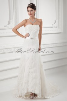 Satin and Net Strapless Neckline A-line Sweep Train Embroidered and Sash Wedding Dress