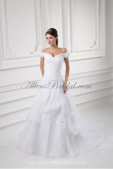 Organza Off-the-Shoulder Neckline A-line Sweep Train Embroidered Wedding Dress