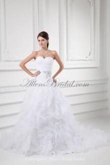 Organza Sweetheart Neckline A-line Sweep Train Embroidered Wedding Dress
