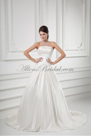 Satin Strapless Ball Gown Sweep Train Wedding Dress