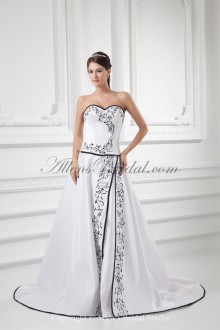 Satin Sweetheart Neckline A-line Sweep Train Embroidered Wedding Dress