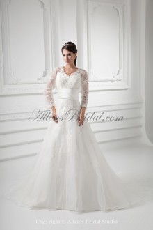 Organza V-Neckline A-line Sweep Train Embroidered and Three-quarter Sleeves Wedding Dress with Jacket