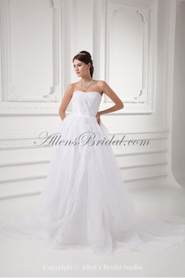 Organza Strapless Ball Gown Sweep Train Embroidered Wedding Dress