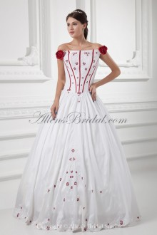 Satin Strapless Neckline Ball Gown Floor Length Embroidered and Hand-made Flowers Wedding Dress