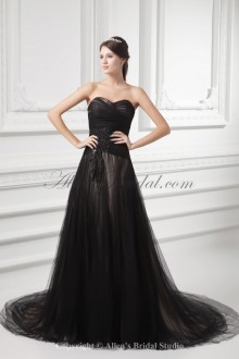 Net and Satin Sweetheart Neckline A-line Sweep Train Embroidered Wedding Dress